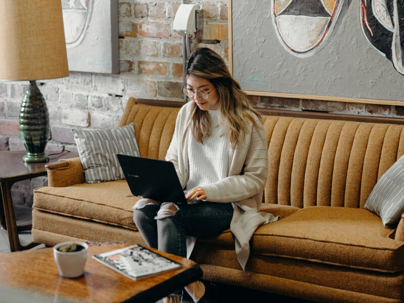 Woman Working at Sofa on AI